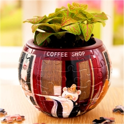 Puzzle pot de fleurs 3D : Coffee Shop