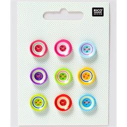 Lot de 9 boutons multicolores