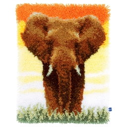 Kit tapis point noué Eléphant