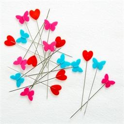 Epingles papillons et coeurs