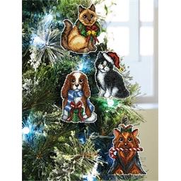 Set de 4 décorations de Noël chiens-chats à broder