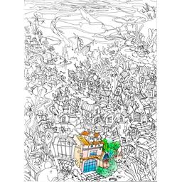 Puzzle 500 pièces à colorier Ville secrète imaginaire