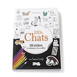 100% chats, 200 stickers à colorier
