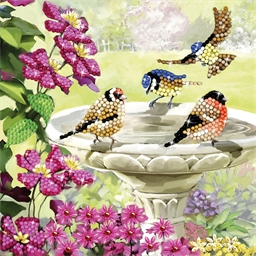 Carte perles à coller Crystal Baignade oiseaux