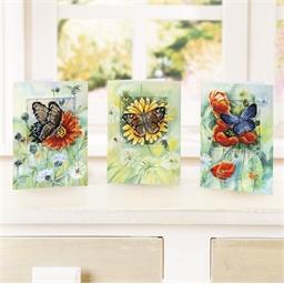 Carte papillon/fleur à broder Papillon/Gerbera jaune