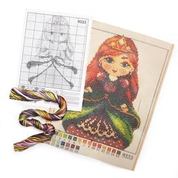 Kit coussin canevas Princesse rousse