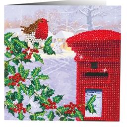 Kit carte perles à coller Rossignol en hiver