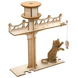 Puzzle 3D bois Chats joueurs Canne à pêche