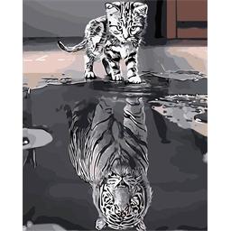 Peinture par numéros Chat et reflet tigre