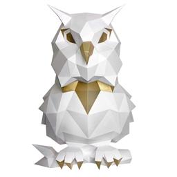 Kit sculpture en papier Hibou blanc