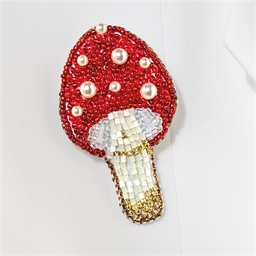 Kit broche perles à broder Champignon