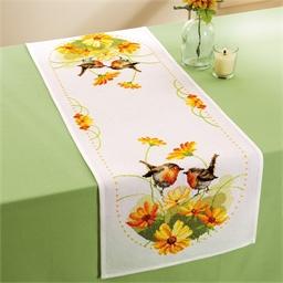 Kit chemin de table Rouge-gorge et fleurs
