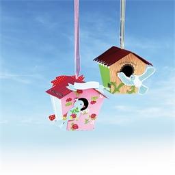 Kit nichoir oiseaux en papier Rose ou Vert