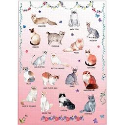 Puzzle 1000 pièces Races de chats (fond rose)