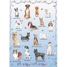 Puzzle 1000 pièces Races de chiens (fond bleu)