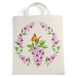 Sac tissu à colorier Lilas et papillon