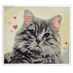 Kit perles à coller cadre portrait Chat tigré