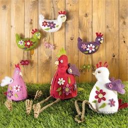 Kit couture déco en feutrine poules fleuries