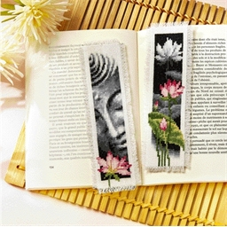 Set 2 marque pages Lotus & Bouddha à broder