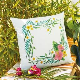 Set de 2 coussins à colorier Fleurs tropicales