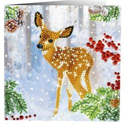 2 cartes perles à coller Faon et renard dans la neige