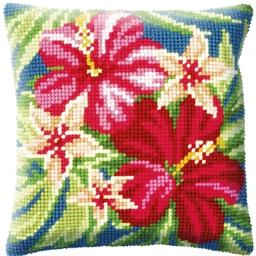 Kit coussin canevas Fleurs d'hibiscus