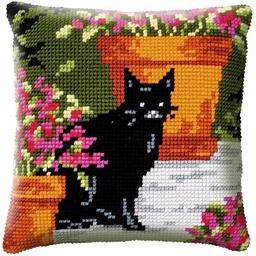 Kit coussin canevas Chat noir dans les fleurs