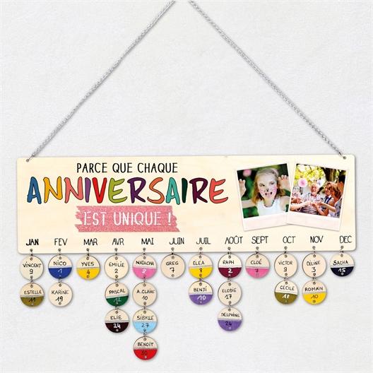 Calendrier des anniversaires à personnaliser