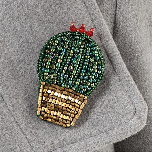 Kit broche perles à broder Cactus