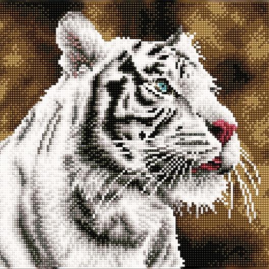 Kit perles à coller Diamond Dotz® pré-encadré Tigre blanc