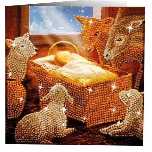 2 cartes perles à coller Père Noël et nativité