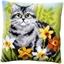 Kit coussin canevas Chat gris dans les fleurs